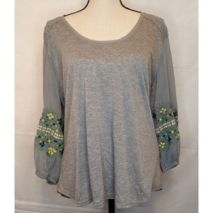 Anthropologie Gray Embroidered Long Sleeve Shirt L
